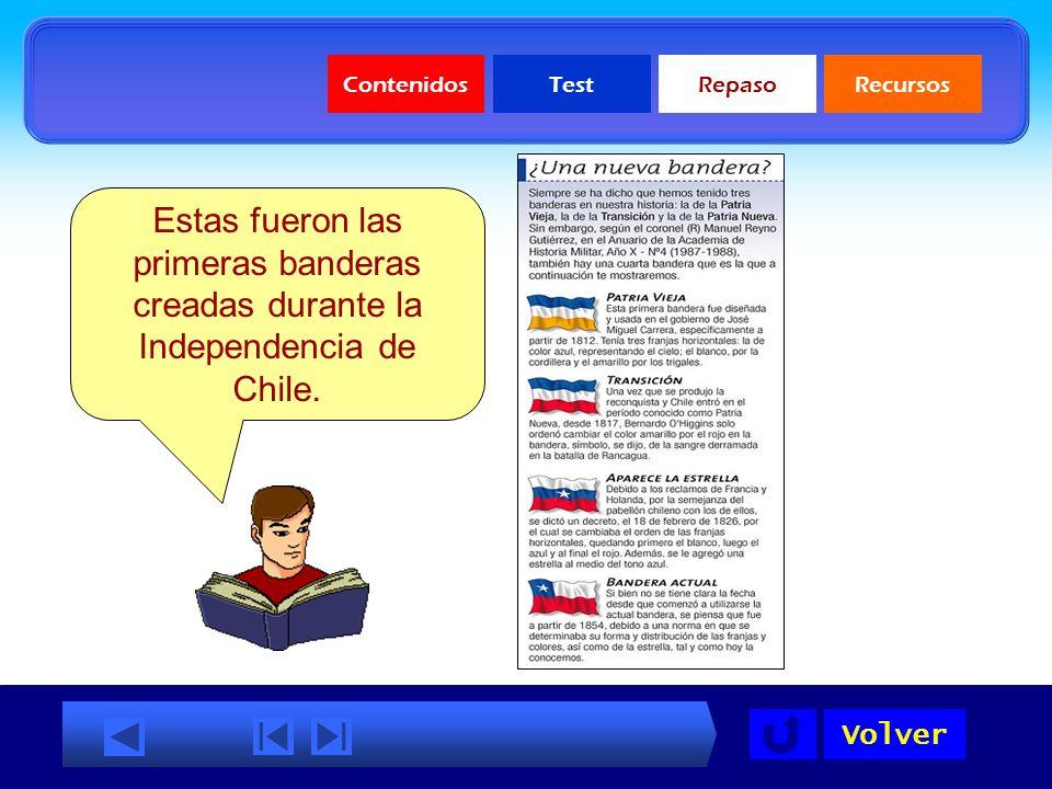 Contenidos Test. Repaso. Recursos. Estas fueron las primeras banderas creadas durante la Independencia de Chile.