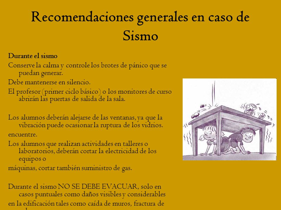 Recomendaciones generales en caso de Sismo