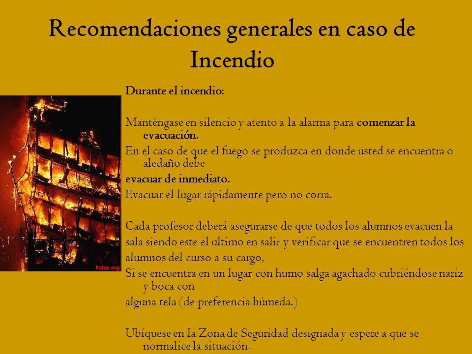 Recomendaciones generales en caso de Incendio