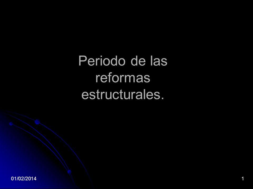 Periodo de las reformas estructurales.