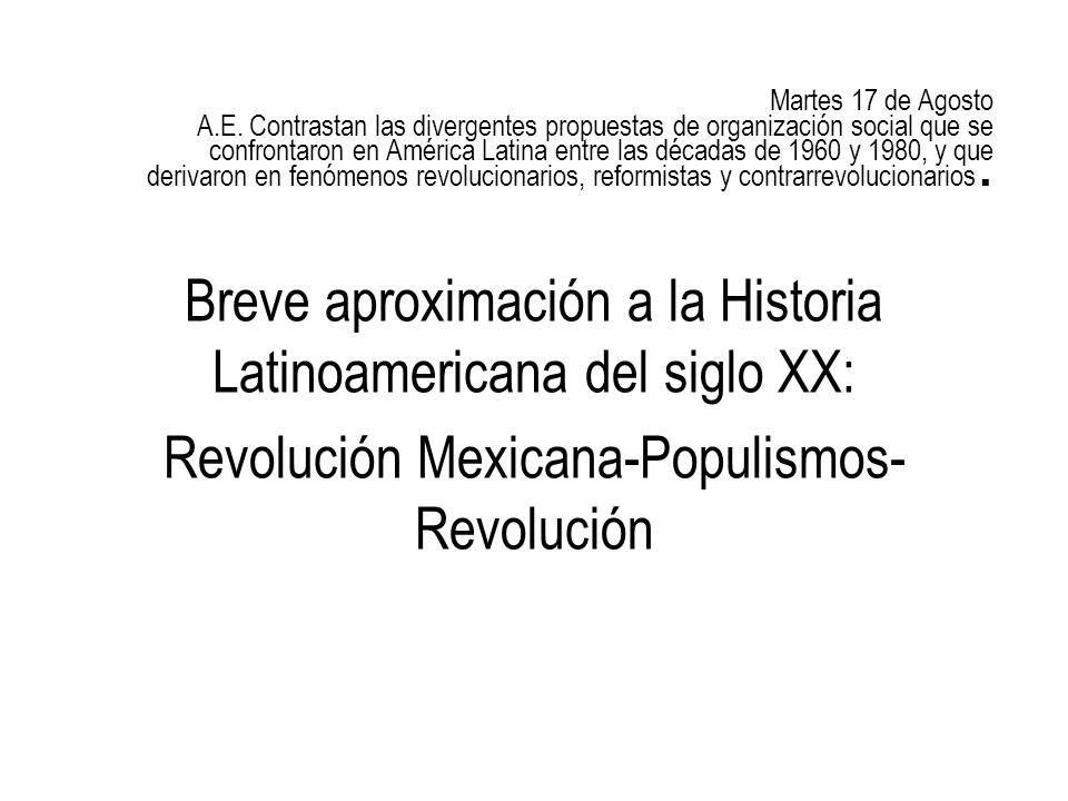 Breve aproximación a la Historia Latinoamericana del siglo XX: