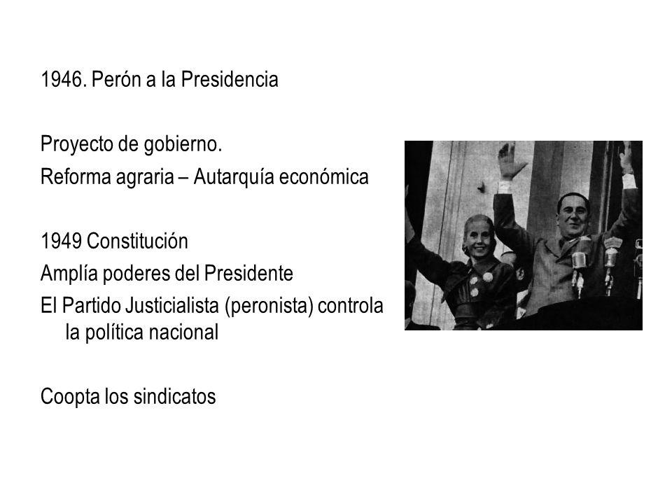 1946. Perón a la Presidencia Proyecto de gobierno. Reforma agraria – Autarquía económica. 1949 Constitución.