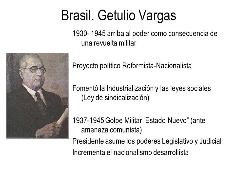 Brasil. Getulio Vargas1930- 1945 arriba al poder como consecuencia de una revuelta militar. Proyecto político Reformista-Nacionalista.