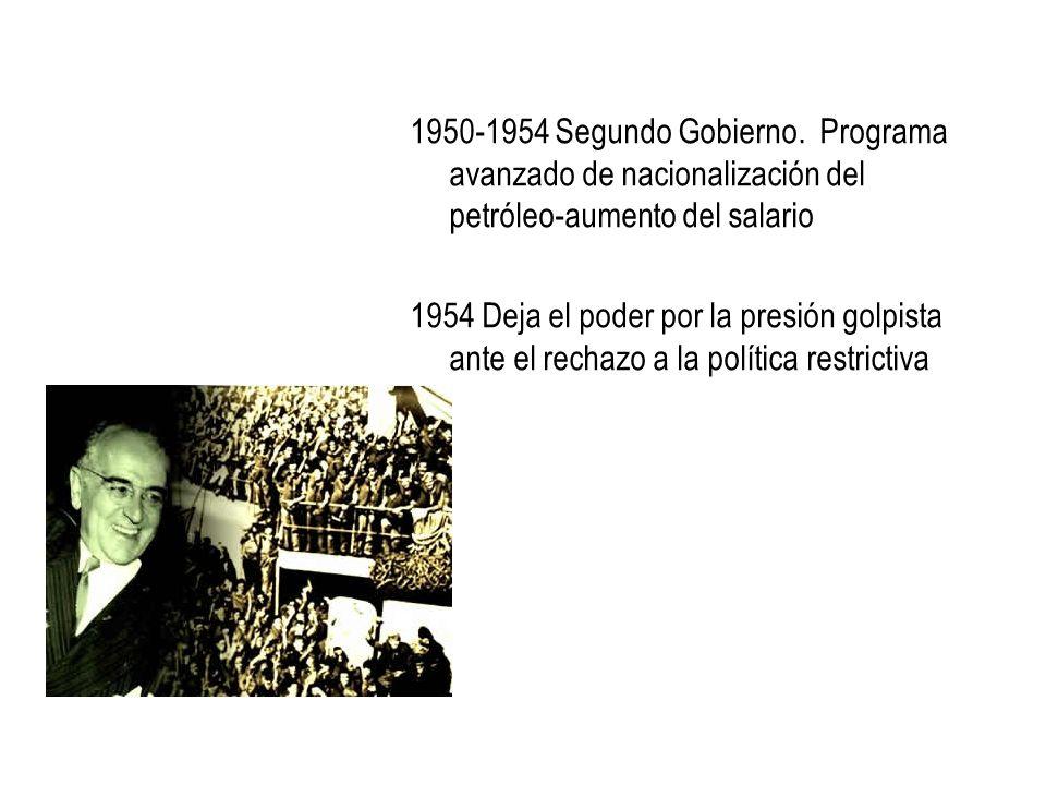 1950-1954 Segundo Gobierno. Programa avanzado de nacionalización del petróleo-aumento del salario
