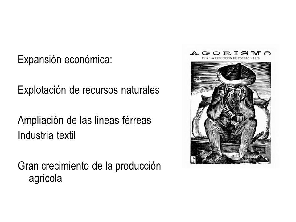 Expansión económica:Explotación de recursos naturales. Ampliación de las líneas férreas. Industria textil.