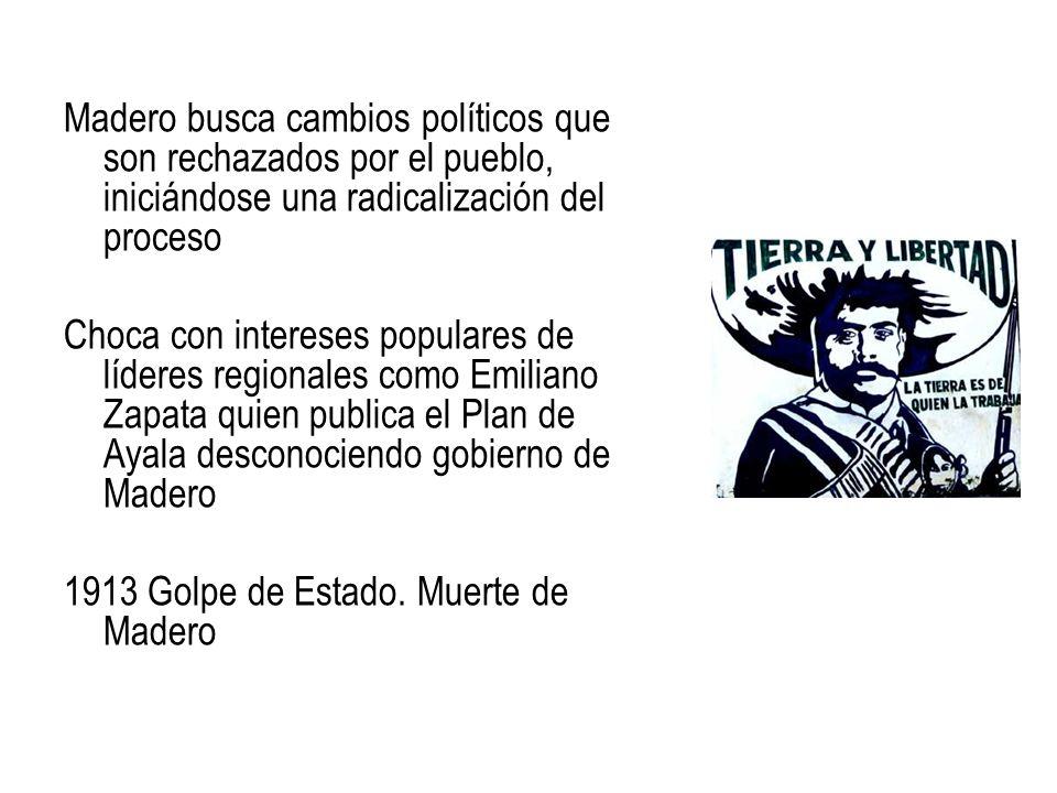 Madero busca cambios políticos que son rechazados por el pueblo, iniciándose una radicalización del proceso