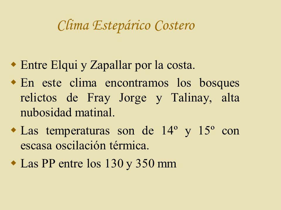 Clima Estepárico Costero