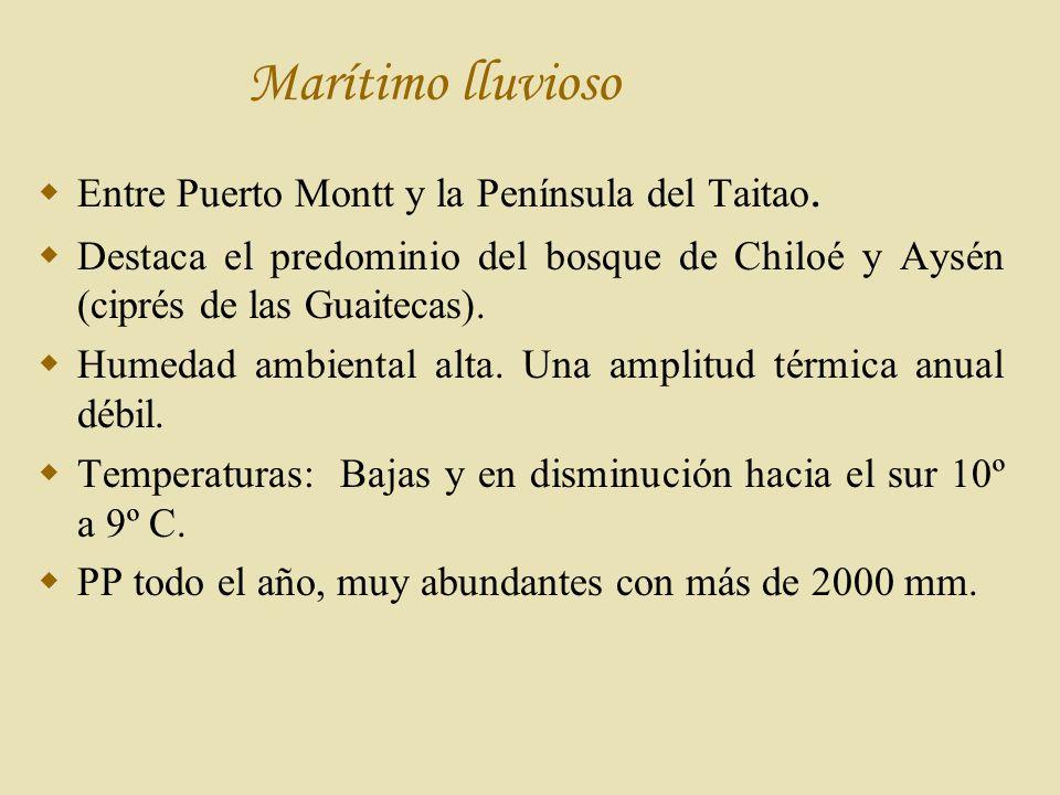 Marítimo lluvioso Entre Puerto Montt y la Península del Taitao.