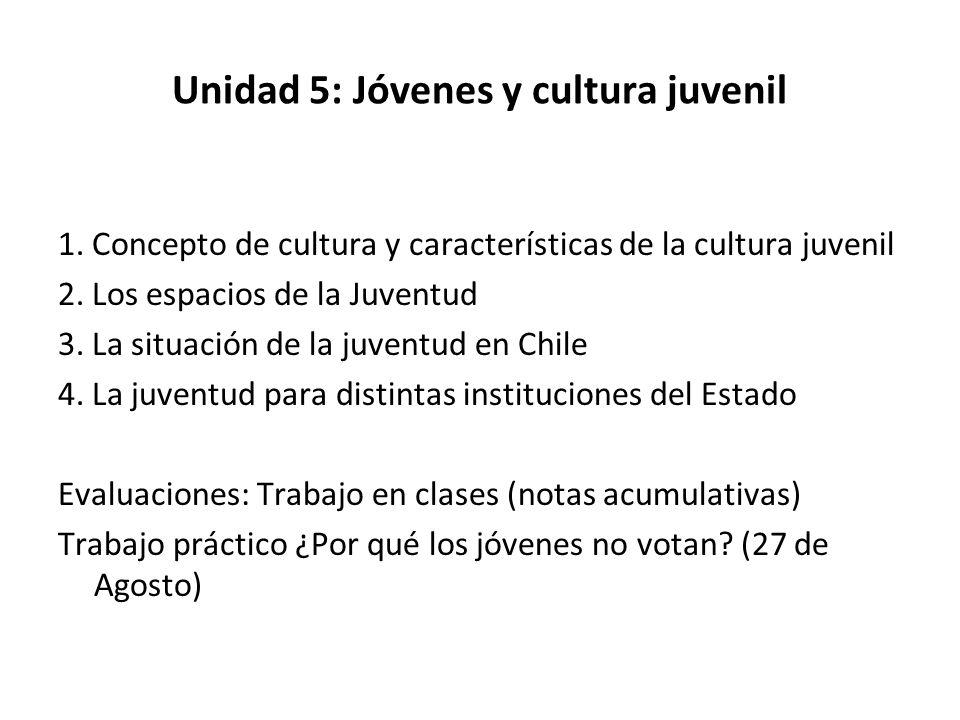 Unidad 5: Jóvenes y cultura juvenil