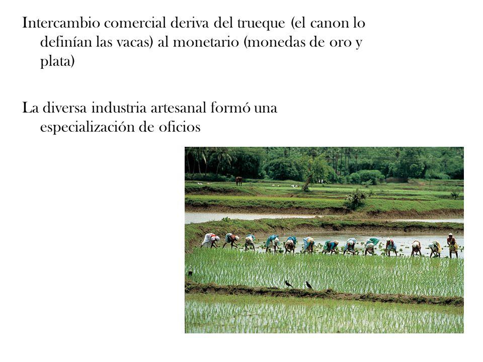 Intercambio comercial deriva del trueque (el canon lo definían las vacas) al monetario (monedas de oro y plata)
