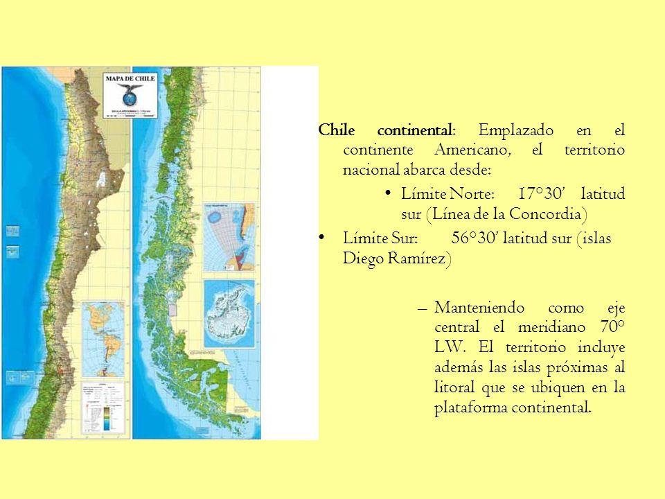 Chile continental: Emplazado en el continente Americano, el territorio nacional abarca desde: