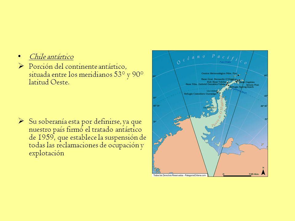 Chile antártico Porción del continente antártico, situada entre los meridianos 53° y 90° latitud Oeste.