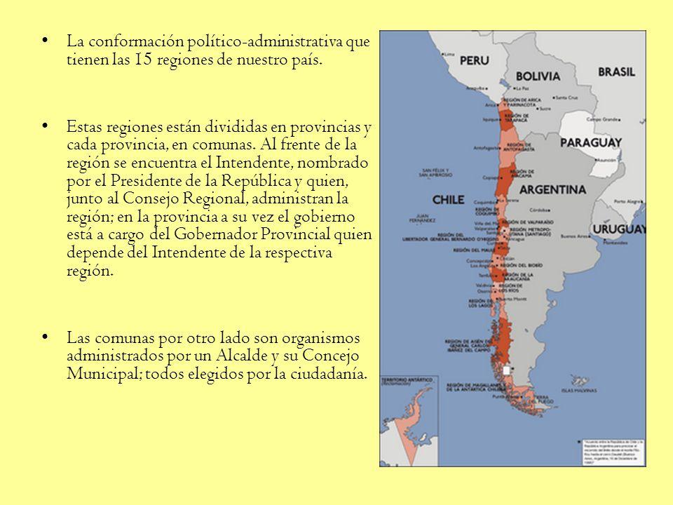 La conformación político-administrativa que tienen las 15 regiones de nuestro país.