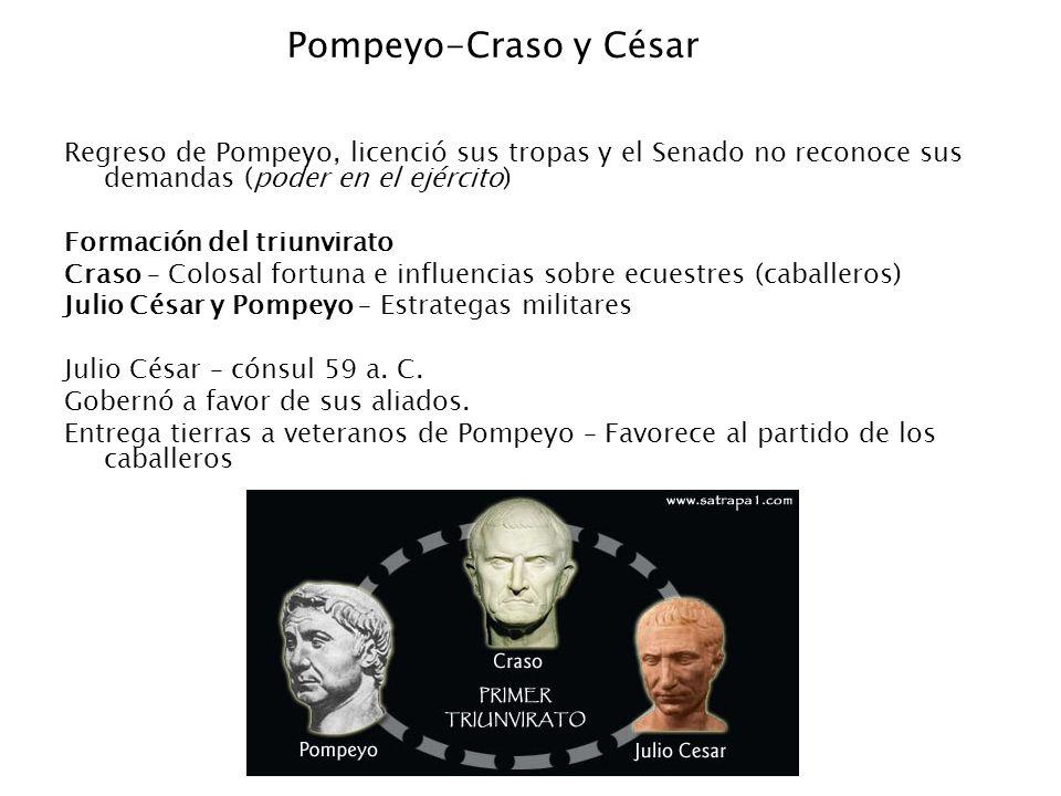 Pompeyo-Craso y César Regreso de Pompeyo, licenció sus tropas y el Senado no reconoce sus demandas (poder en el ejército)