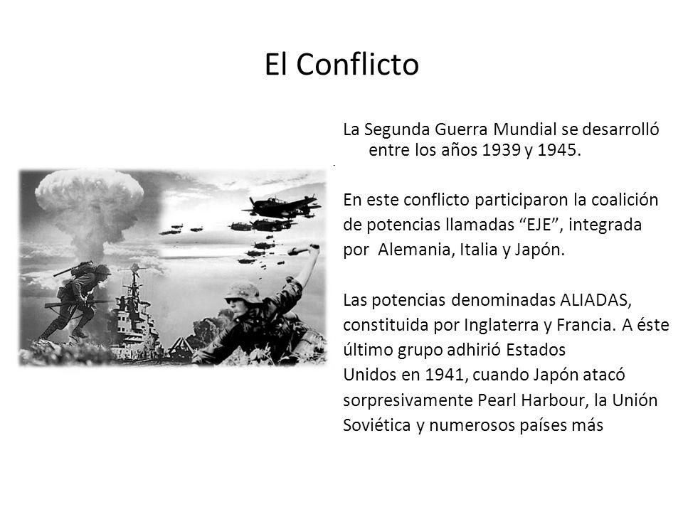 El Conflicto La Segunda Guerra Mundial se desarrolló entre los años 1939 y 1945. En este conflicto participaron la coalición.