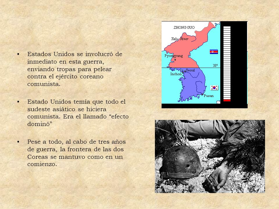 Estados Unidos se involucró de inmediato en esta guerra, enviando tropas para pelear contra el ejército coreano comunista.