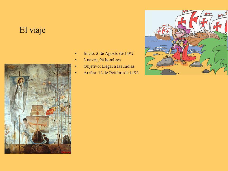 El viaje Inicio: 3 de Agosto de 1492 3 naves, 90 hombres