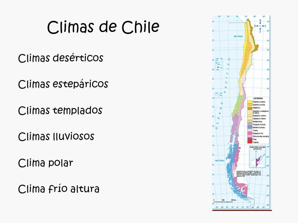 Climas de Chile Climas desérticos Climas estepáricos Climas templados