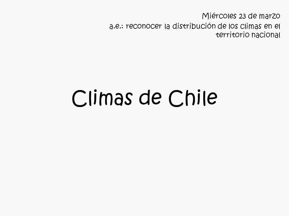 Climas de Chile Miércoles 23 de marzo