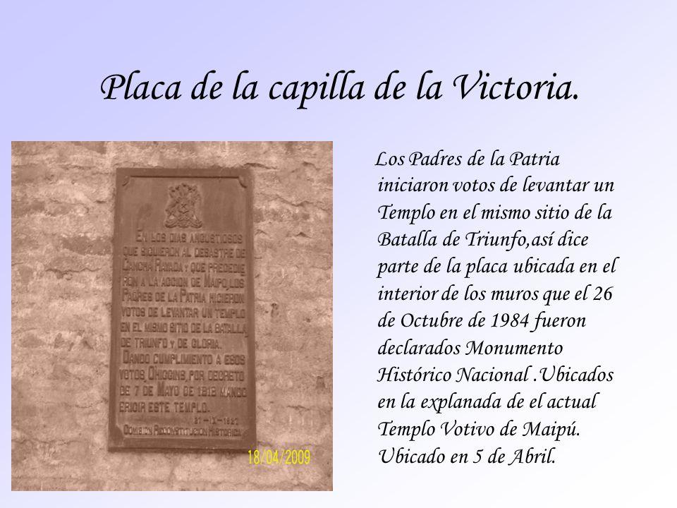 Placa de la capilla de la Victoria.
