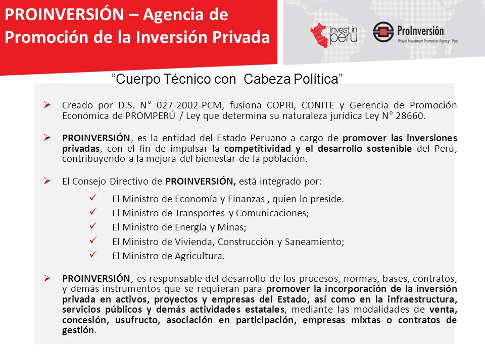 PROINVERSIÓN – Agencia de Promoción de la Inversión Privada