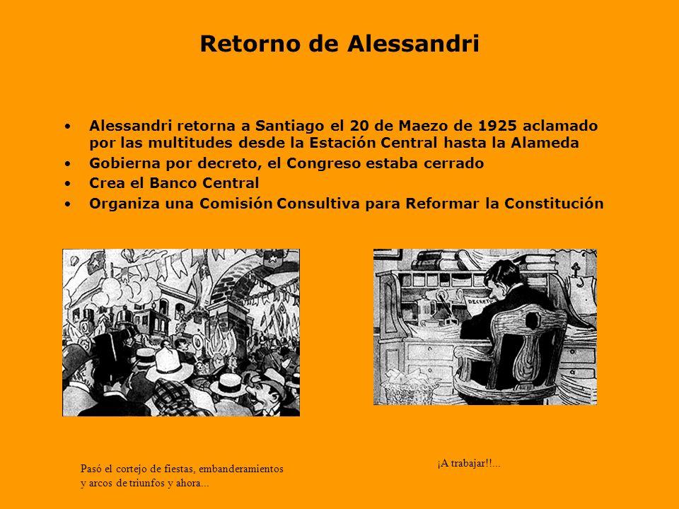 Retorno de AlessandriAlessandri retorna a Santiago el 20 de Maezo de 1925 aclamado por las multitudes desde la Estación Central hasta la Alameda.
