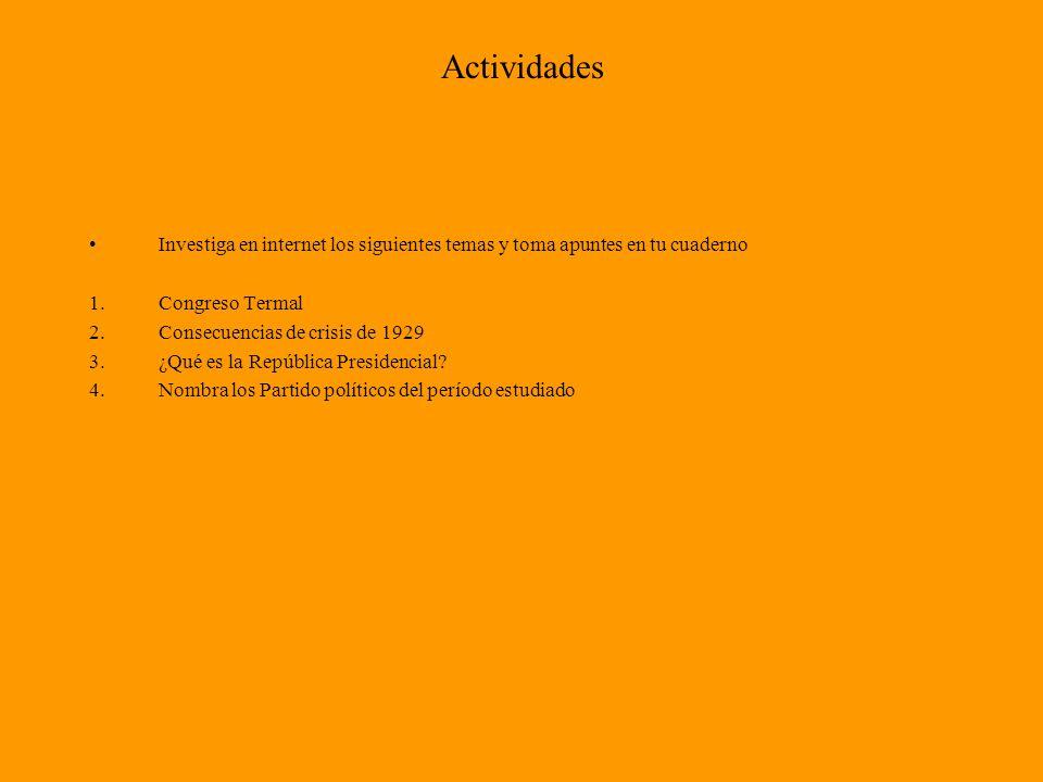 Actividades Investiga en internet los siguientes temas y toma apuntes en tu cuaderno. Congreso Termal.