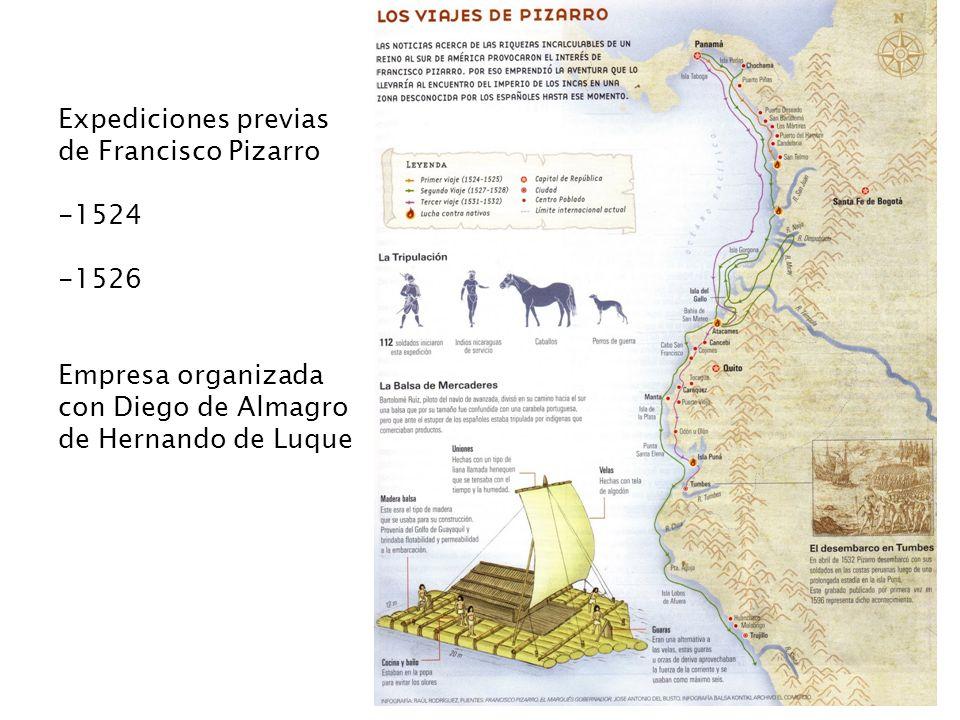 Expediciones previas de Francisco Pizarro -1524 -1526 Empresa organizada con Diego de Almagro de Hernando de Luque