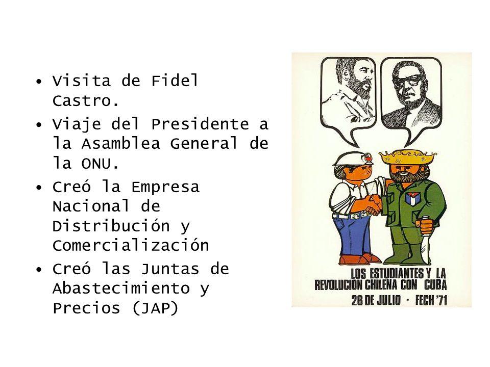 Visita de Fidel Castro. Viaje del Presidente a la Asamblea General de la ONU. Creó la Empresa Nacional de Distribución y Comercialización.