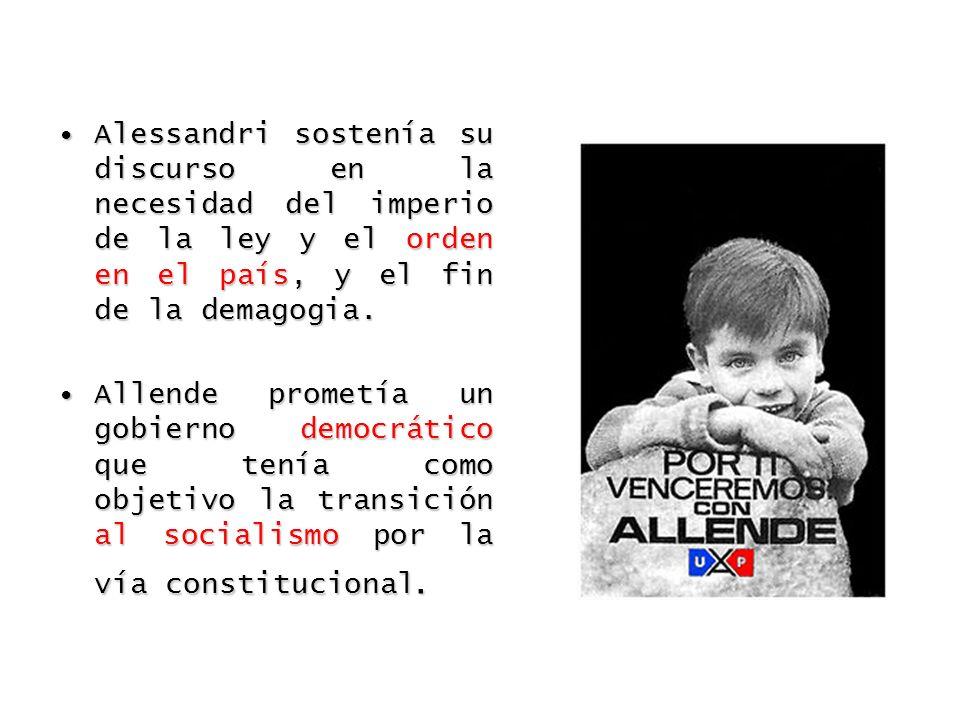 Alessandri sostenía su discurso en la necesidad del imperio de la ley y el orden en el país, y el fin de la demagogia.
