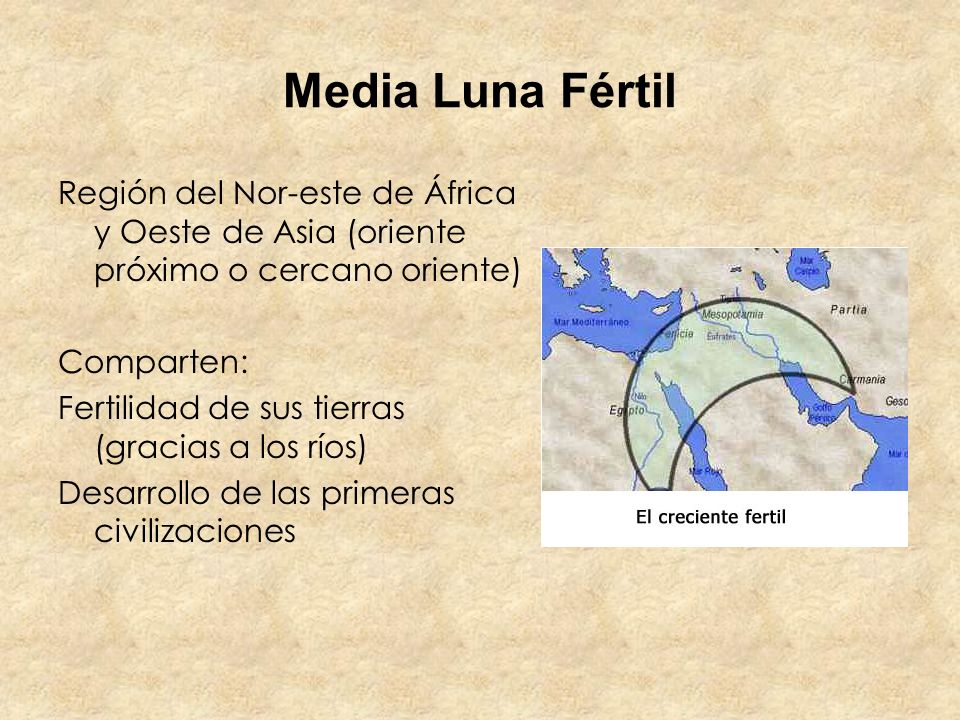Media Luna Fértil Región del Nor-este de África y Oeste de Asia (oriente próximo o cercano oriente)
