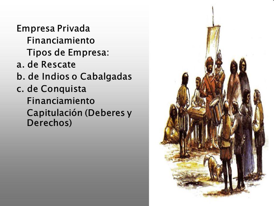 Empresa Privada Financiamiento. Tipos de Empresa: a. de Rescate. b. de Indios o Cabalgadas. c. de Conquista.