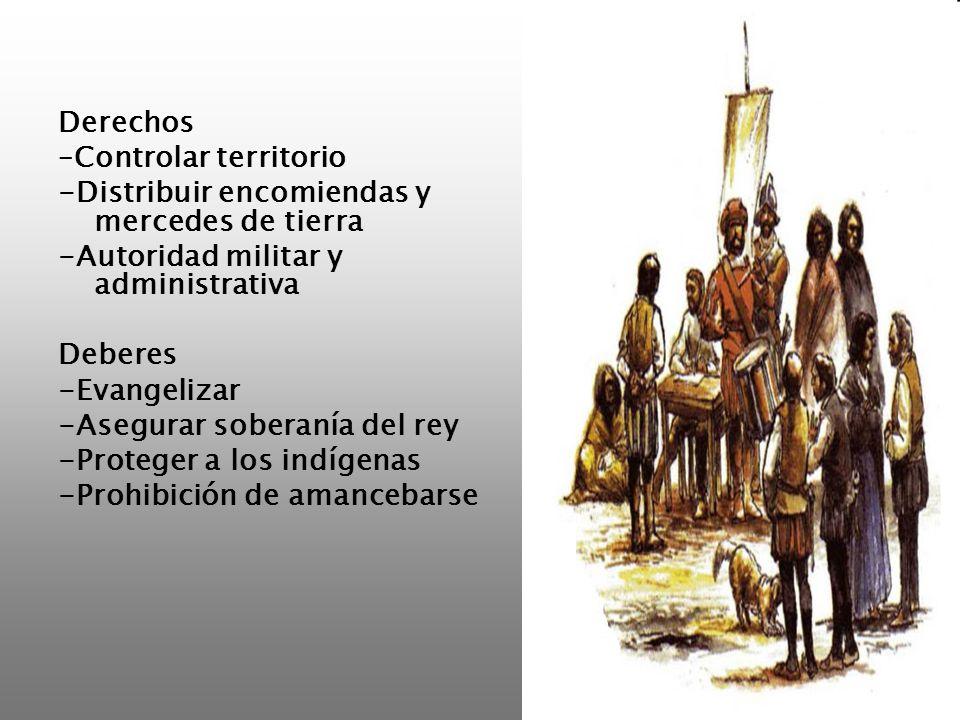 Derechos –Controlar territorio. -Distribuir encomiendas y mercedes de tierra. -Autoridad militar y administrativa.