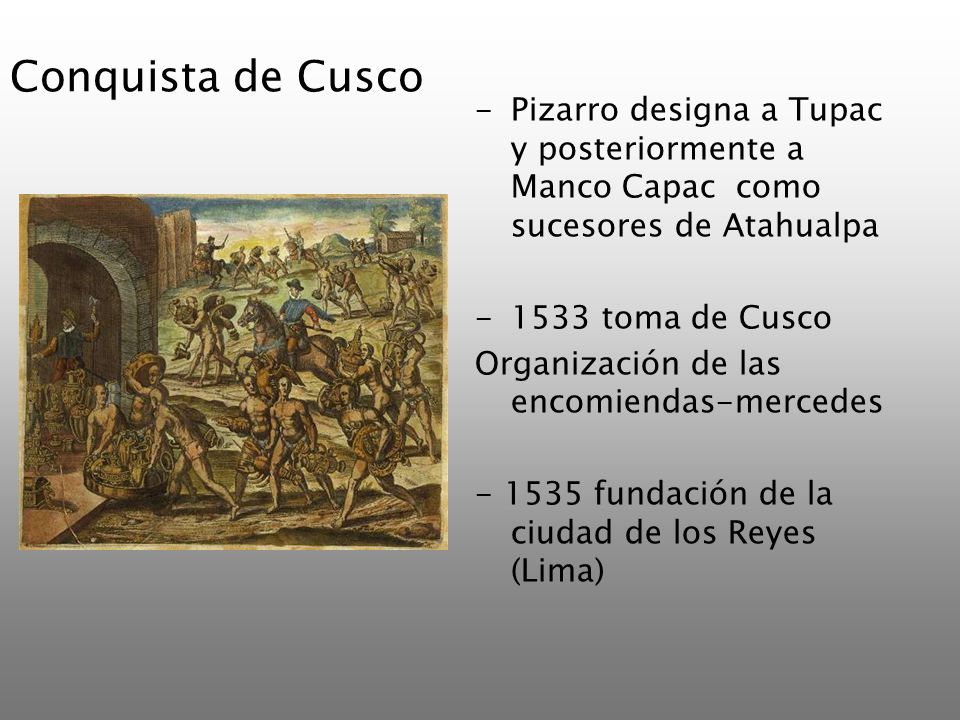 Conquista de CuscoPizarro designa a Tupac y posteriormente a Manco Capac como sucesores de Atahualpa.
