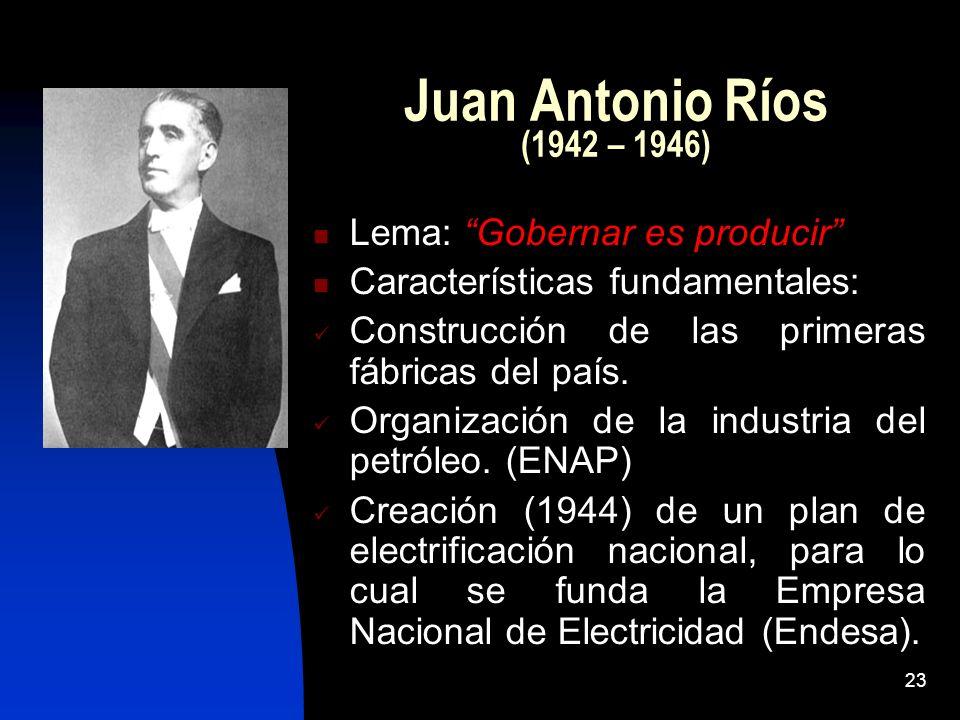 Juan Antonio Ríos (1942 – 1946) Lema: Gobernar es producir