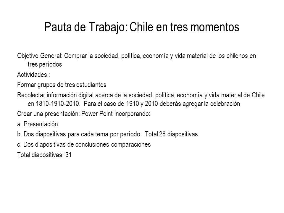 Pauta de Trabajo: Chile en tres momentos