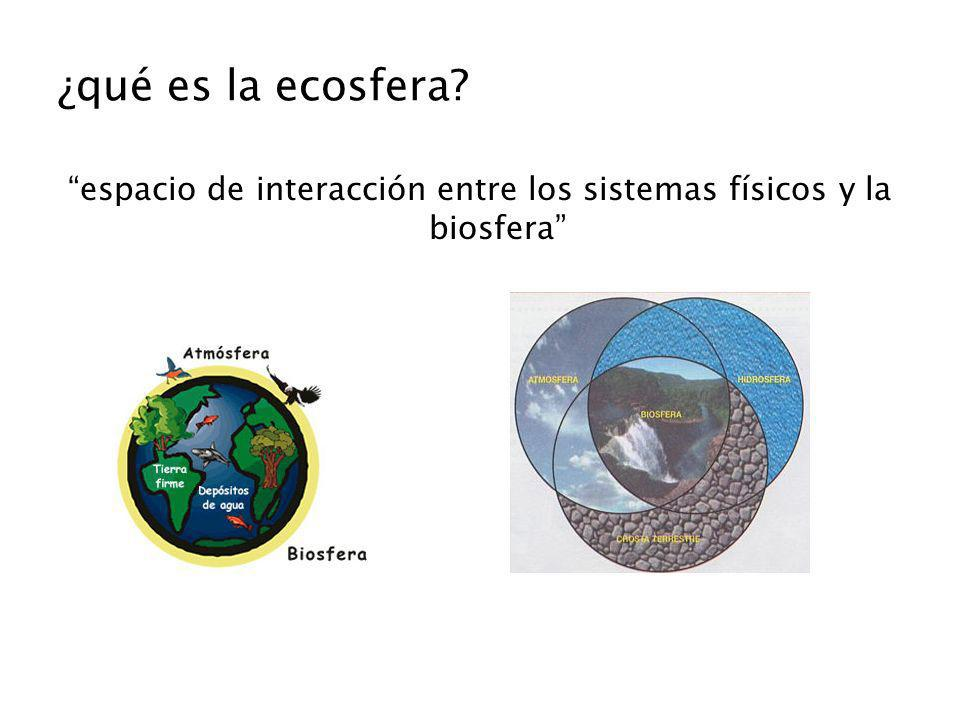 espacio de interacción entre los sistemas físicos y la biosfera
