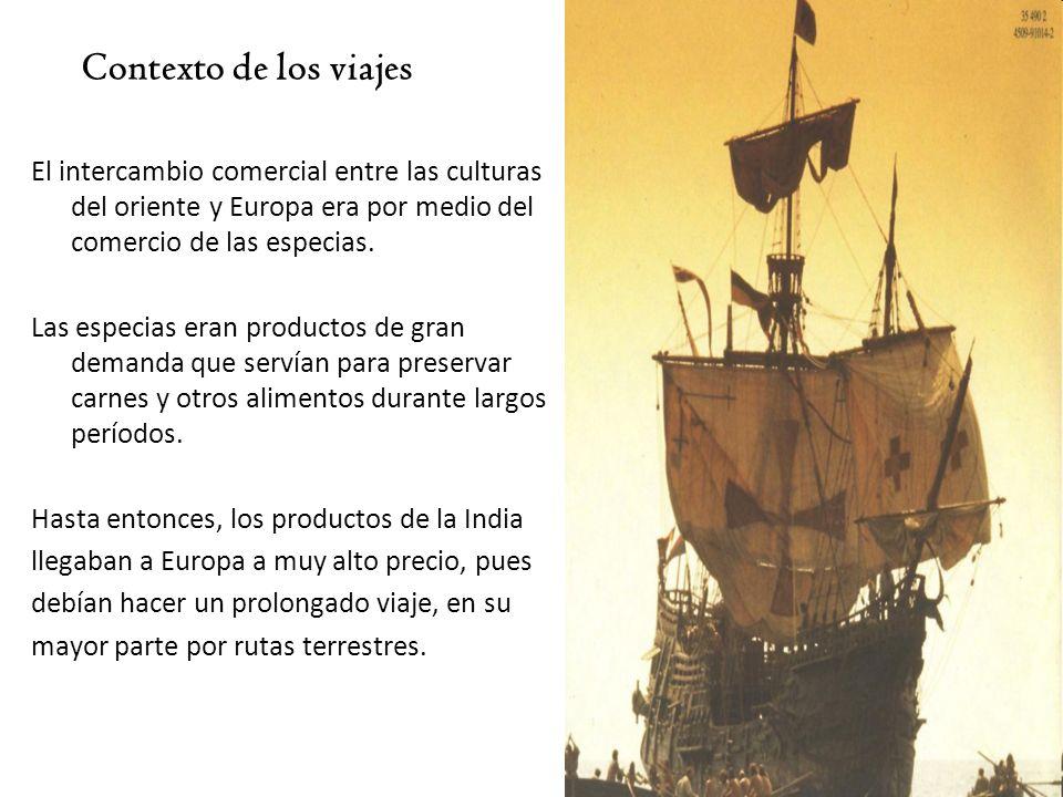 Contexto de los viajes El intercambio comercial entre las culturas del oriente y Europa era por medio del comercio de las especias.