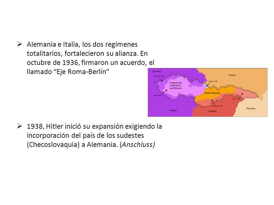 Alemania e Italia, los dos regímenes totalitarios, fortalecieron su alianza. En octubre de 1936, firmaron un acuerdo, el llamado Eje Roma-Berlín