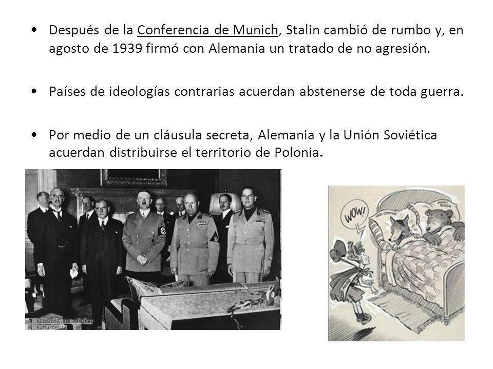 Después de la Conferencia de Munich, Stalin cambió de rumbo y, en agosto de 1939 firmó con Alemania un tratado de no agresión.