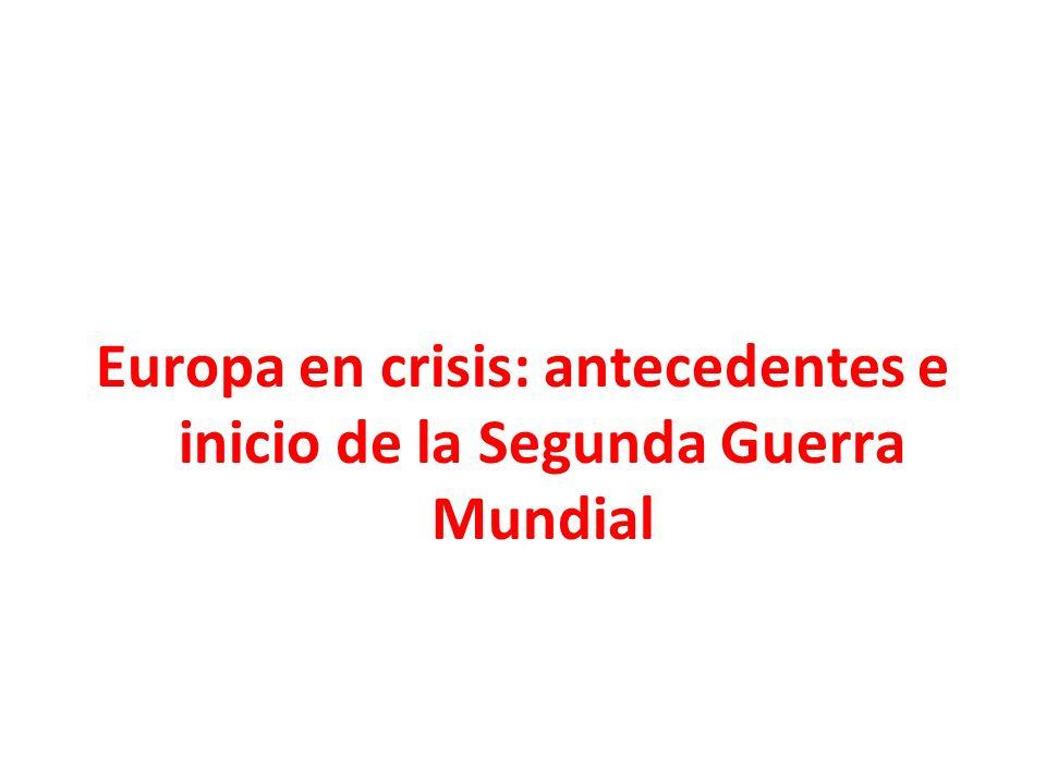 Europa en crisis: antecedentes e inicio de la Segunda Guerra Mundial