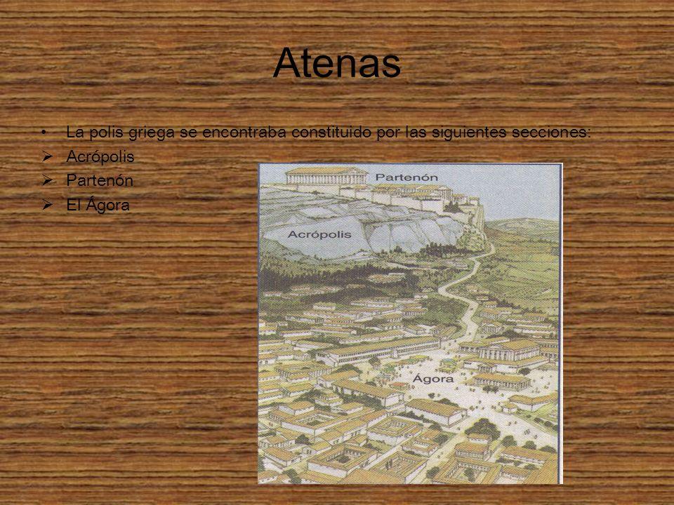 Atenas La polis griega se encontraba constituido por las siguientes secciones: Acrópolis. Partenón.