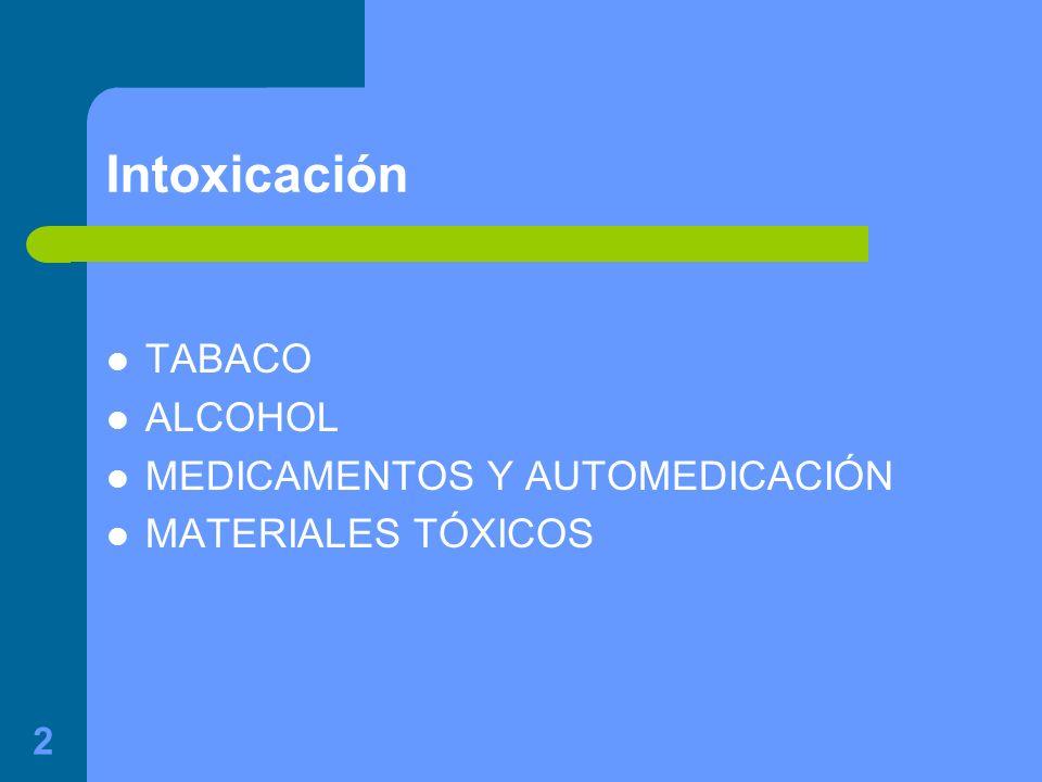 Intoxicación TABACO ALCOHOL MEDICAMENTOS Y AUTOMEDICACIÓN