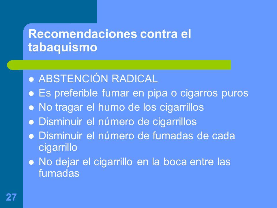 Recomendaciones contra el tabaquismo
