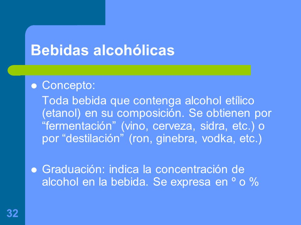 Bebidas alcohólicas Concepto: