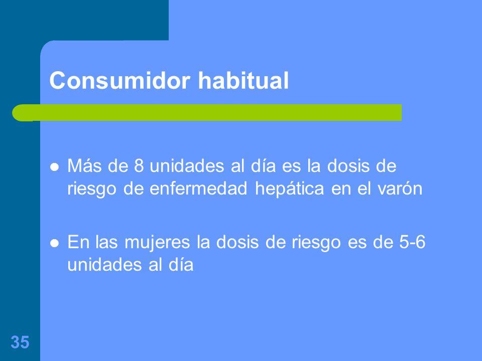 Consumidor habitual Más de 8 unidades al día es la dosis de riesgo de enfermedad hepática en el varón.