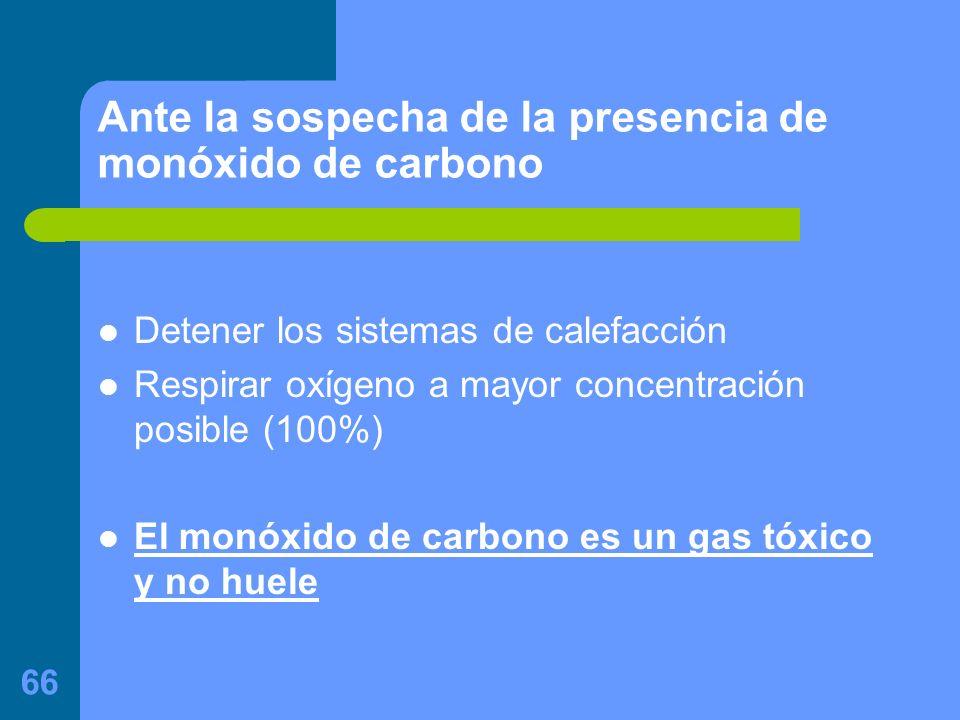 Ante la sospecha de la presencia de monóxido de carbono