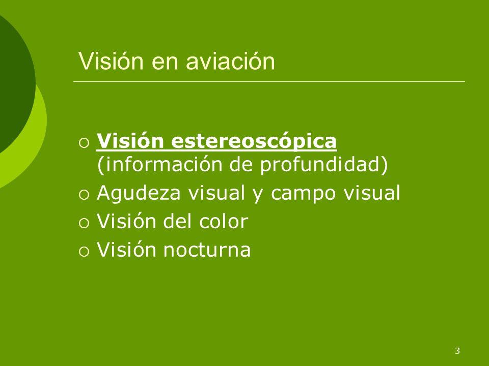Visión en aviación Visión estereoscópica (información de profundidad)
