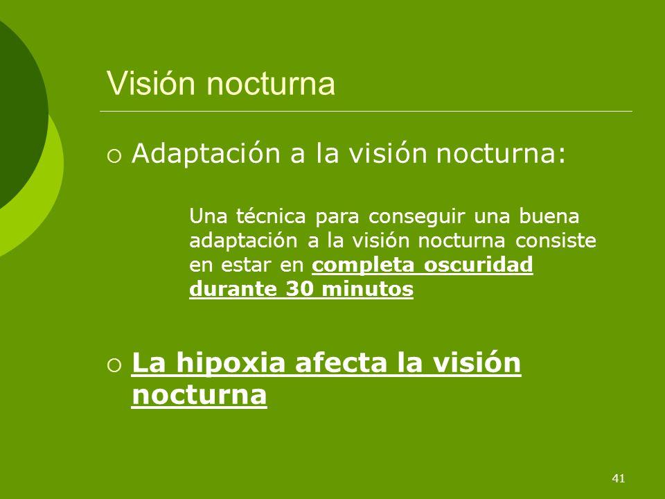 Visión nocturna Adaptación a la visión nocturna: