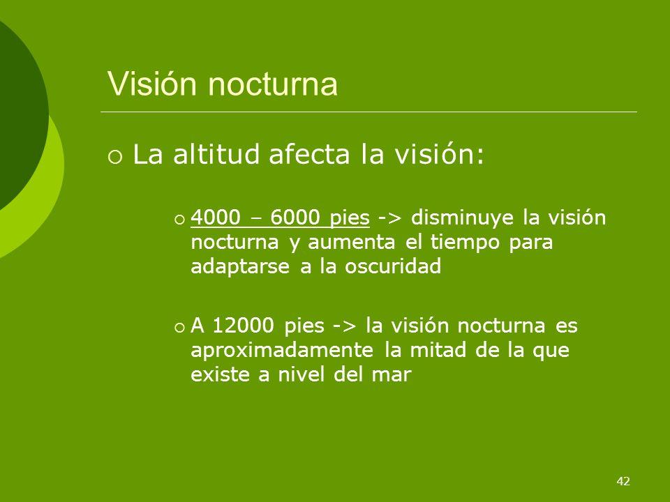 Visión nocturna La altitud afecta la visión: